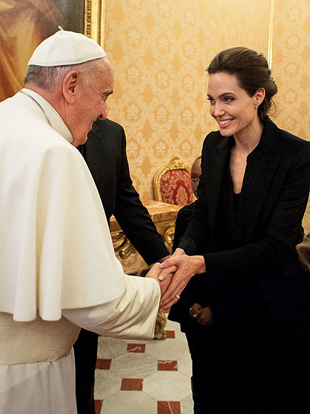 Angelina Jolie Meets Pope Francis After 'Unbroken' Screens at Vatican