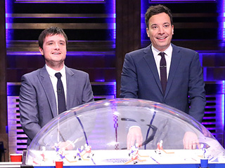 Watch: Josh Hutcherson Faces Jimmy Fallon in Boozy Hockey Rematch