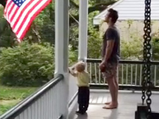 Watch Chris Pratt and His Son Adorably Recite the Pledge of Allegiance
