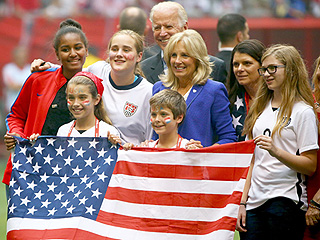 Sasha Obama Joins Vice President Joe Biden to Cheer US Team to World Cup Victory