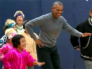 Watch President Obama Bust a Move with Native Alaskan Kids