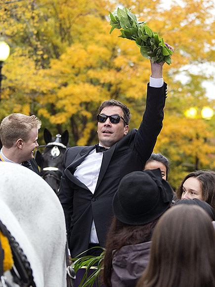 Jimmy Fallon Takes a Tumble at Harvard University