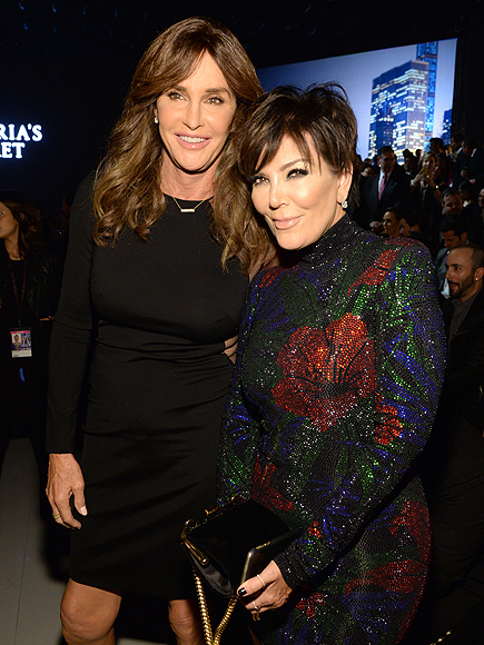 Caitlyn and Kris Jenner Share a Friendly Hug at VS Fashion Show