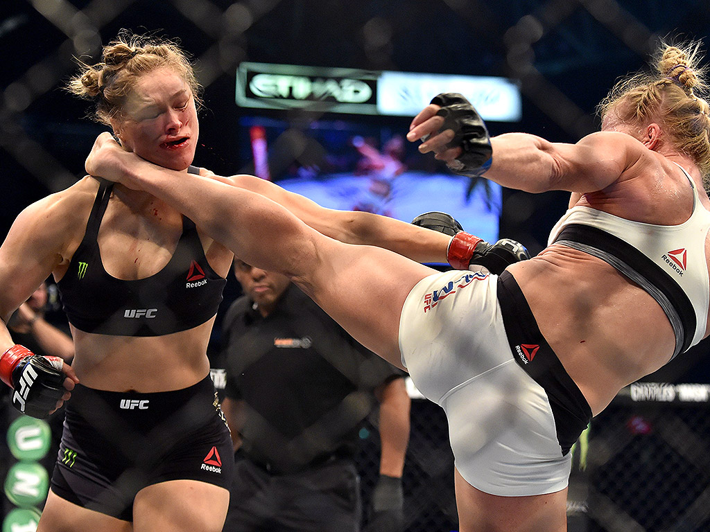 Ronda Rousey gets taken down by Holly Holm.