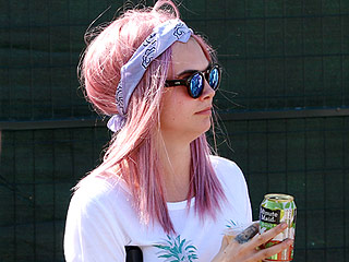 Cara Delevingne Shows Off Pink 'Do Watching St. Vincent at Music Festival