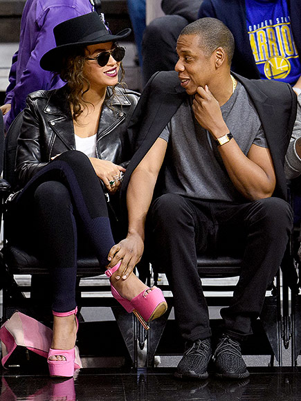 Beyonce and Jay Z  Attend NBA Game with Kendrick Lamar