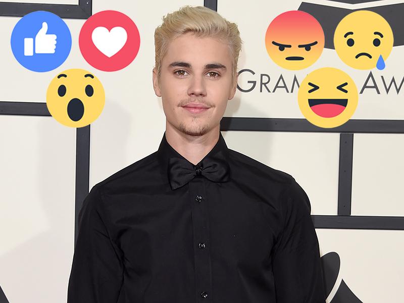 Facebook Reactions Buttons: Justin Bieber