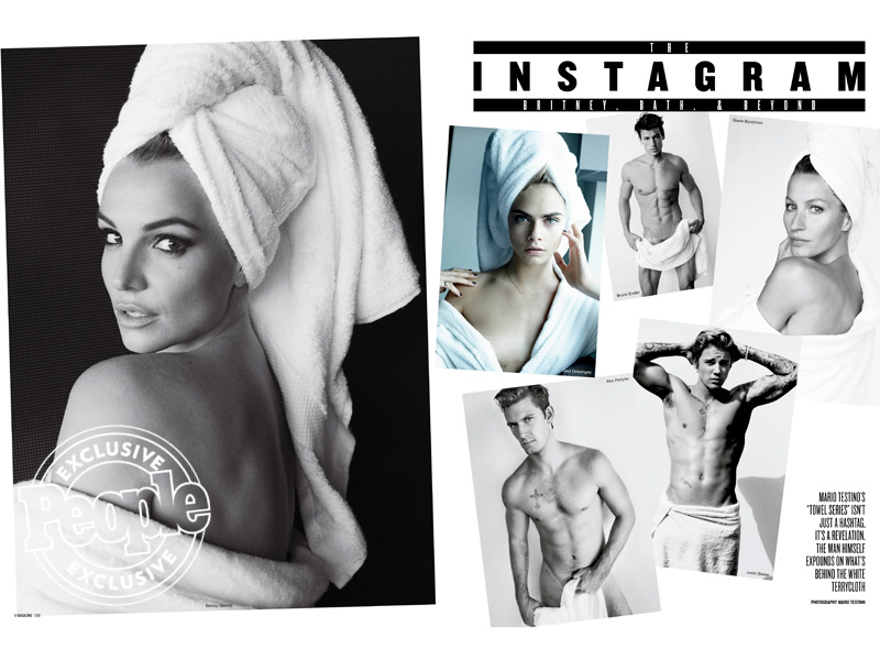 Britney Spears, Justin Bieber, Gisele Bundchen in Mario Testino's 'Towel' Series