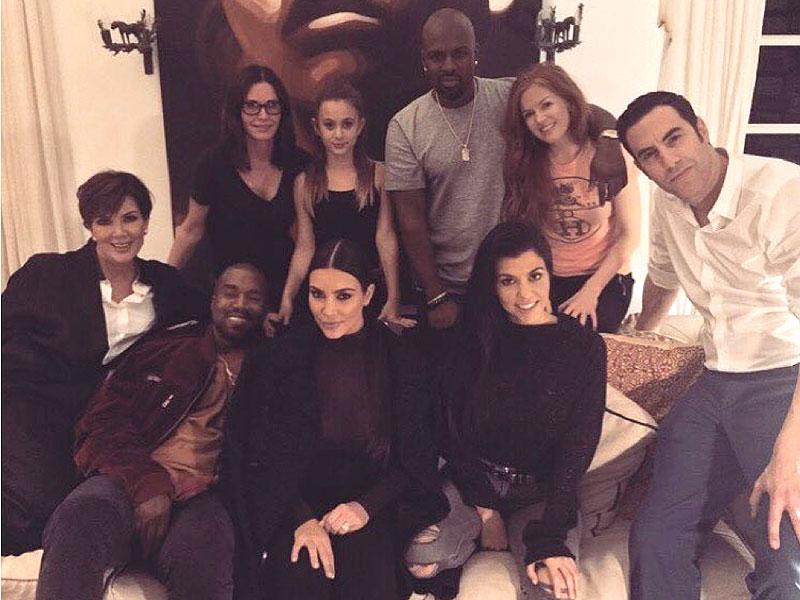 Kardashians, Kanye West, Courteney Cox, Sacha Baron Cohen Enjoy Movie Night