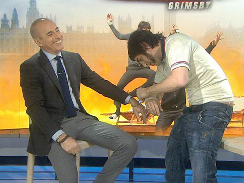 Sacha Baron Cohen Handcuffs Himself to Matt Lauer as Brothers Grimsby Character
