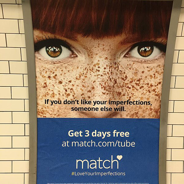 Underground Riders Outraged at Match.com Ads Calling Freckles 'Imperfections'