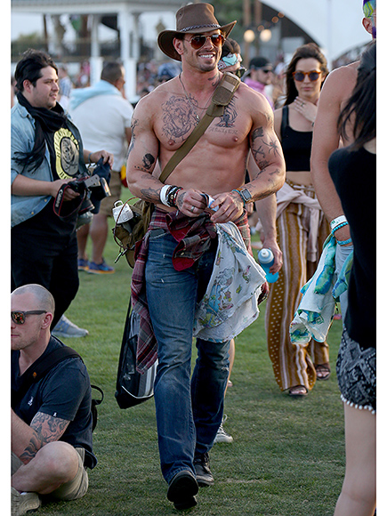 Kellan Lutz Goes Shirtless and Sports Fake Tattoos at Coachella