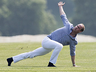 Waiting to Exhale: Prince William Warms Up for Polo by Doing Yoga in White Jeans