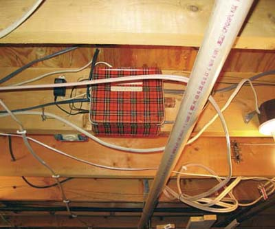 vintage plaid lunchbox used as junction box
