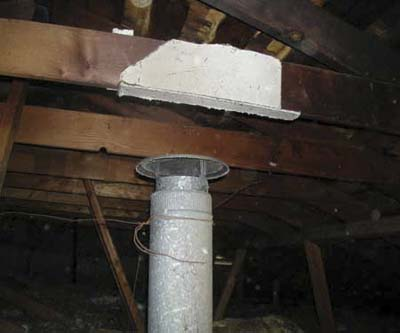 furnace flue in attic under asbestos cloth
