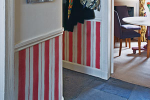 hand-drawn wainscot stripes