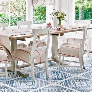 dining area with stenciled on painted rug