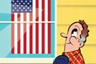 illustration of a man saluting a displayed American flag