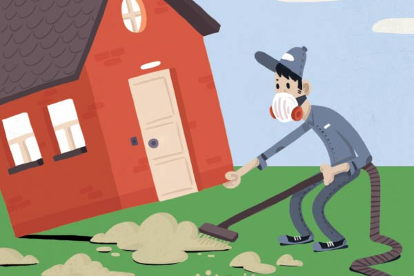 illustration of a man vacuuming under a house