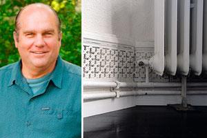 Richard Trethewey and baseboard heating pipes