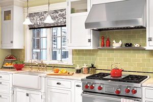 kitchen with prominent range hood