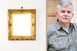 a piece of wall art hanging on a wall's picture frame, Tom Silva