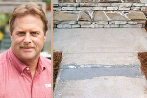 homeowner's cracked concrete walkway and Roger Cook