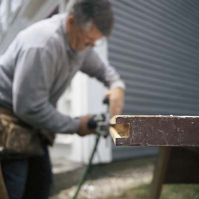 routing the dado, door on sawhorse