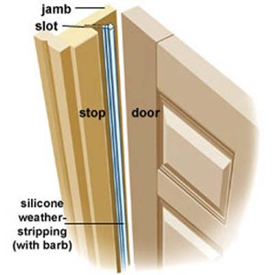 silicone weatherstripping on a wooden door