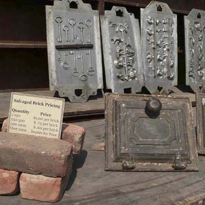 aluminum positives of sandcasting molds and bricks at Salvage Fest
