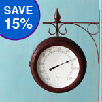 Wind & Weather Double-Sided Metal Clock/Thermometer