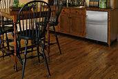 kitchen/dining area from a basement remodel with engineered wood flooring