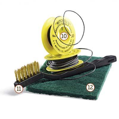 sanding cord, brass-bristled brush and Scotch-Brite pad