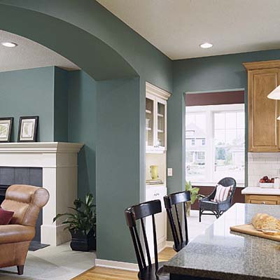 Crisp and clean tealy green brilliant interior paint for Kitchen interior colour