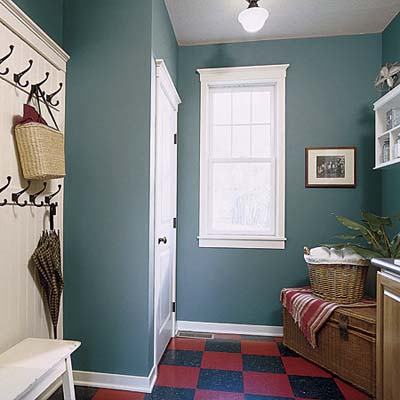 teal mudroom