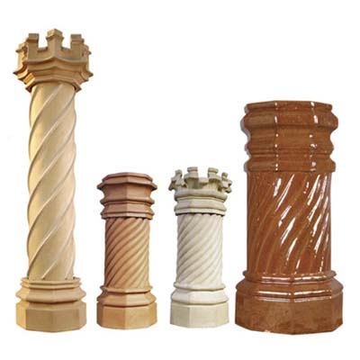 chimney pots in shape of candy-twists
