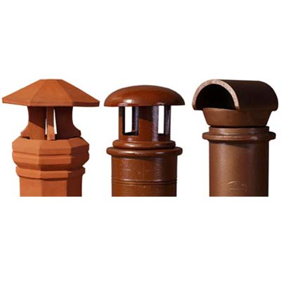 chimney pots with matching terra-cota rainguard 