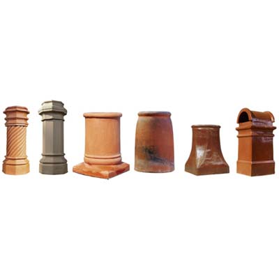 chimney pots in various styles, shapes and forms