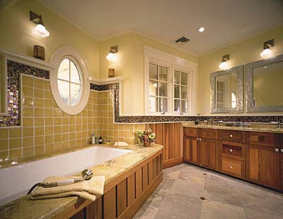 bathroom photos, bath design, bath tiles, bathtub fixtures, windows, mirrors, bath lighting, bath vanities