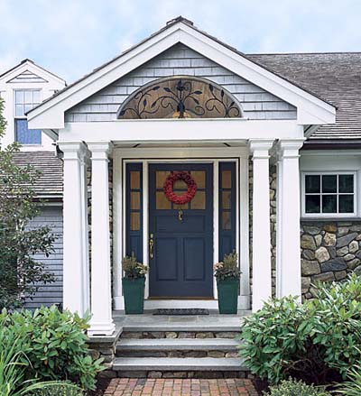 gabled portico with six tapered columns