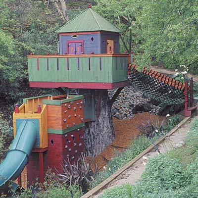 Playhouse built into a hillside