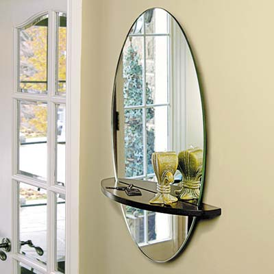 oval mirror-shelf