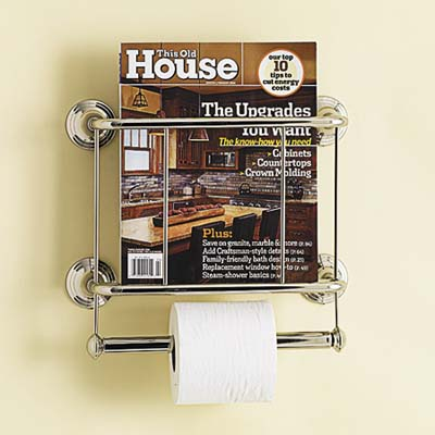 tissue holder mounted on the wall has a built-in rack for reading materials