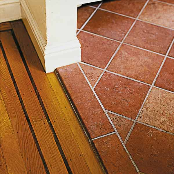 Faux Terra Cotta Floor A Small Kitchen Gains Space Within The Same