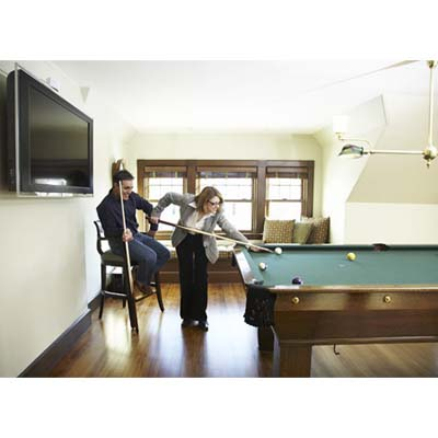 couple playing pool, Newton, shingle-style house, billiards room