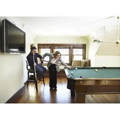 couple playing pool, Newton, shingle-style house, billiards room