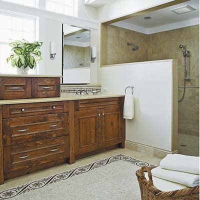 upgraded master bath suite with wood vanity 