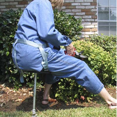 wearable garden stool; strap-on garden stool