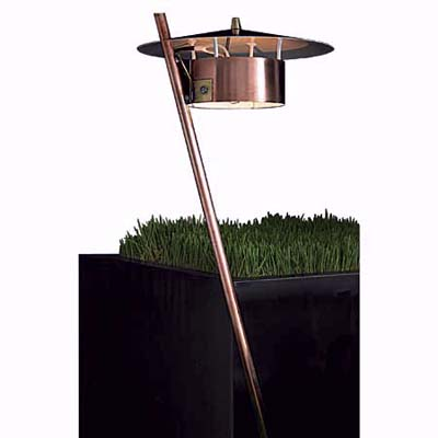 Nightscaping's broad beam copper lamp with an angled stem will cast light up to 16 feet away