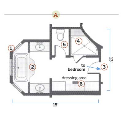 After floor plan of renovated bath